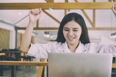 Successful businesswoman working in the office. happy female sta Stock Photo