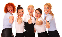 Successful businesswomen. A picture of five happy successful busineswomen showing ok sign over white background Royalty Free Stock Photo