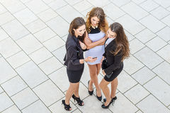 Successful businesswomen in the city, top view Royalty Free Stock Images