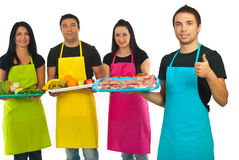 Successful butcher and his team stock photography