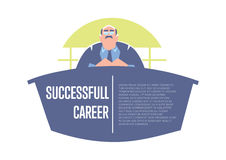 Successful career banner with big boss Royalty Free Stock Photography