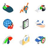 Successful career icons set, isometric style. Successful career icons set. Isometric set of 9 successful career vector icons for web isolated on white background Royalty Free Stock Photography