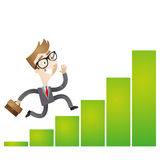Successful cartoon businessman running growing bar chart Stock Photography