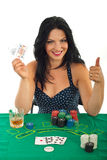 Successful casino woman gives thumbs Stock Photo