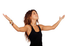 Successful casual girl thanking. Isolated over white stock photography