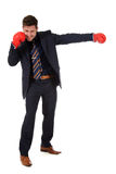 Successful caucasian businessman, boxing gloves Stock Image