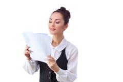 Successful  caucasian businesswoman reading Stock Image