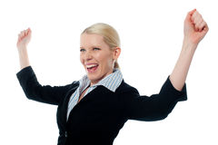 Successful CEO. Posing with arms up Royalty Free Stock Images