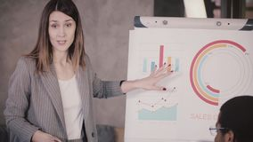 Successful CEO businesswoman pointing at financial research data on flipchart, explaining it to mixed race office team.