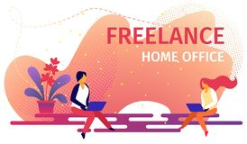 Successful Characters Remote Employees Work Home vector illustration