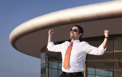 Successful cheering businessman. Royalty Free Stock Images