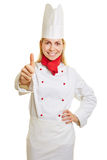Successful chef cook holding thumbs up Stock Images