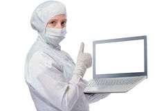 Successful chemist with a computer in the hands Stock Image