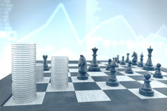 Successful chess tactics to achieve business target on a blue in Stock Photos