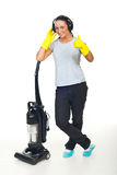 Successful cleaning woman give thumbs Royalty Free Stock Image