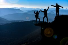 Successful climber team and goal happiness Stock Image