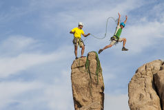 Successful climbing team. Royalty Free Stock Photo