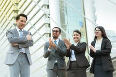 Successful company with group workers. stock photography