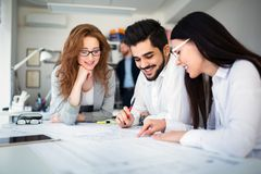 Business people working together on project and brainstorming in office royalty free stock images