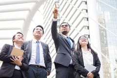 Successful company with happy workers stock photos