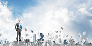 Successful confident businessman in suit. Confident businessman in suit standing on pile of documents among flying papers with cloudly sky on background. Mixed vector illustration