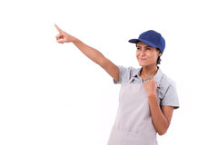 Successful, confident, exited woman worker pointing up. White isolated background Royalty Free Stock Image