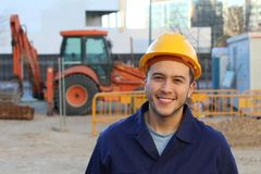 Successful construction employee with copy space royalty free stock photos