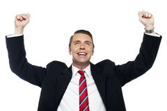 Successful corporate male, arms raised Stock Images