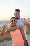 Successful couple of athletes Stock Image