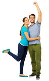 Successful Couple Embracing Against White Background Royalty Free Stock Images