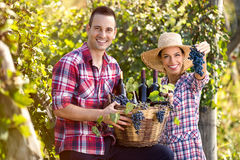 Successful couple winegrower. Proudly show your wine and grapes Stock Images