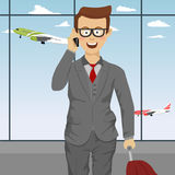Successful cute businessman with glasses and suitcase talking on the phone at airport vector illustration