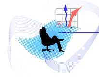 Successful day of businessman. Illustration with arrows royalty free illustration
