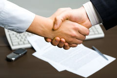 Successful deal. People shaking hands at business meeting Royalty Free Stock Photos