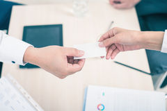 Successful deal, businessman gives you business, visit card Stock Images