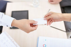 Successful deal, businessman gives you business, visit card Stock Photos