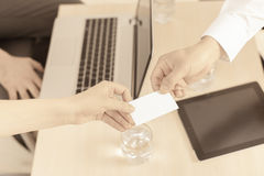 Successful deal, businessman gives you business, visit card Royalty Free Stock Photography