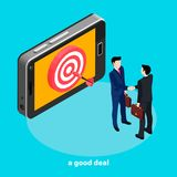 A successful deal, a dart at the center of the target on the smartphone screen, people in business suits shake each other`s riche. S, isometric style vector illustration