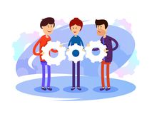 Successful development team. Group of people with gears in hands. Vector illustration Royalty Free Stock Photography