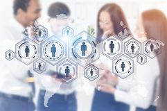 Business team, HUD network, office. Successful and diverse young business team. A network HUD sketch. Toned image double exposure mock up Blurred Elements of Stock Images
