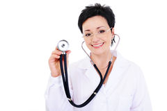 Successful doctor with stethoscope Stock Images