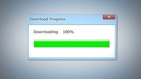 Successful download process, dialog box with green status bar, outdated software. Stock footage Stock Photos
