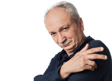Successful elderly man on white background Royalty Free Stock Images