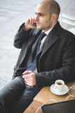 Successful elegant fashionable businessman on the phone Royalty Free Stock Photography