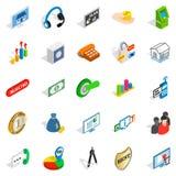 Successful employee icons set, isometric style. Successful employee icons set. Isometric set of 25 successful employee vector icons for web isolated on white Royalty Free Stock Photo