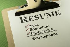 Successful Employment Concept With Resume Checklist royalty free stock photo