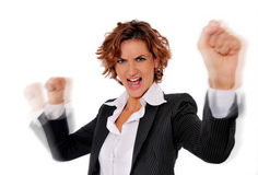 Successful Energetic Woman. Successful Energetic business woman in charge and excited, with her arms up in the air and her fists clenched, ready to take on any Royalty Free Stock Images