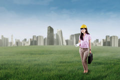 Successful engineer builds green city Stock Image