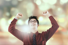 Successful entrepreneur celebrate his victory Royalty Free Stock Photography