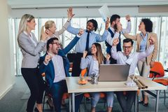 Successful entrepreneurs and business people achieving goals. In modern office stock photos